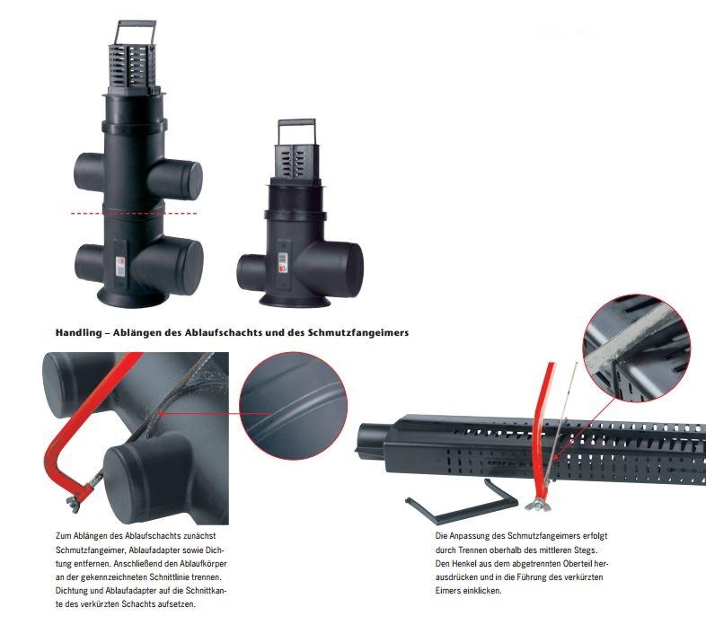 Ablaufadapter für Entwässerungsrinne C 250 mit Gussrost